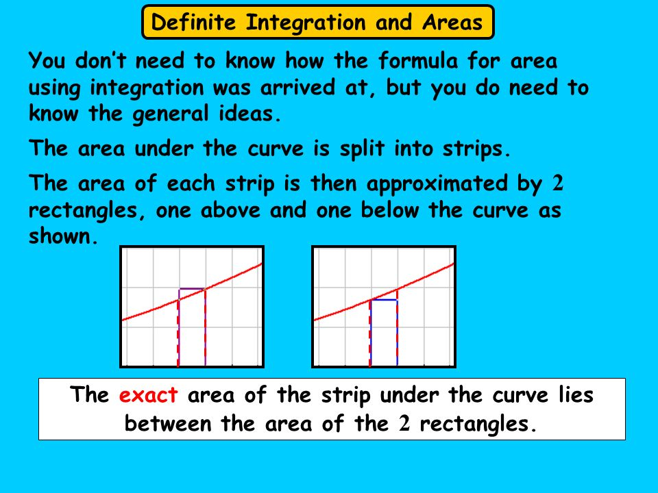 You don't need to know how the formula for area using integration was arrived at, but you do need to know the general ideas.