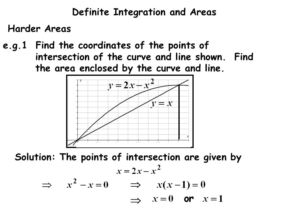 Harder Areas e.g.1 Find the coordinates of the points of intersection of the curve and line shown. Find the area enclosed by the curve and line.