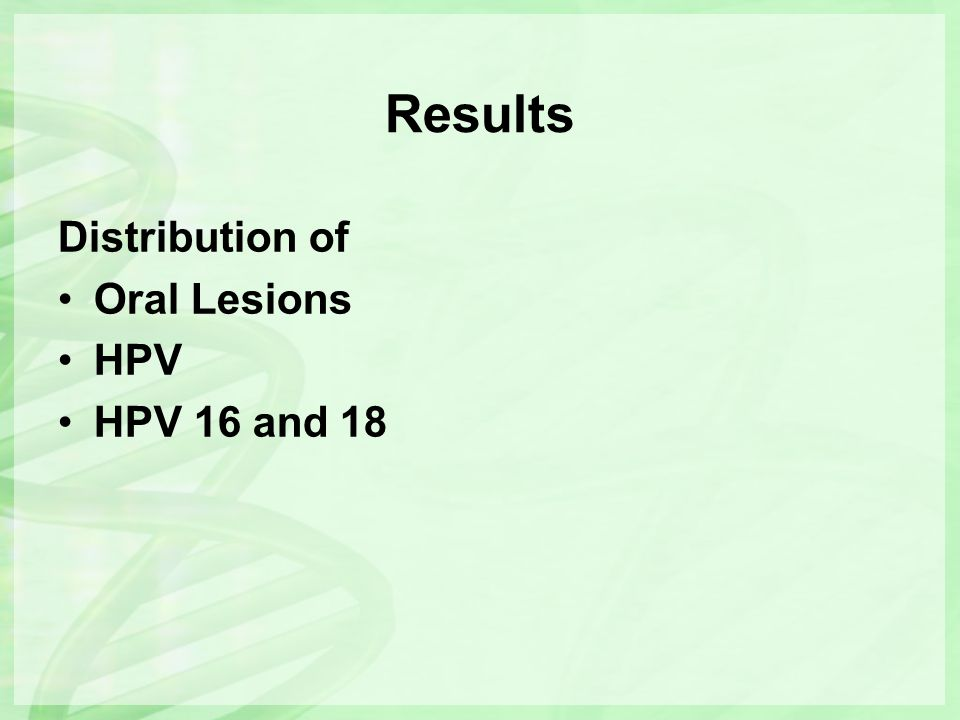 Results Distribution of Oral Lesions HPV HPV 16 and 18