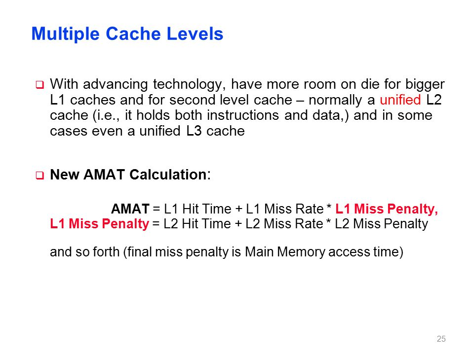 New AMAT Example 1 cycle L1 hit time, 2% L1 miss rate,