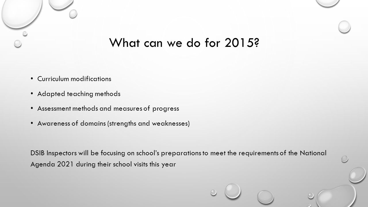 What can we do for 2015 Curriculum modifications