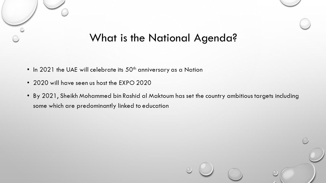 What is the National Agenda