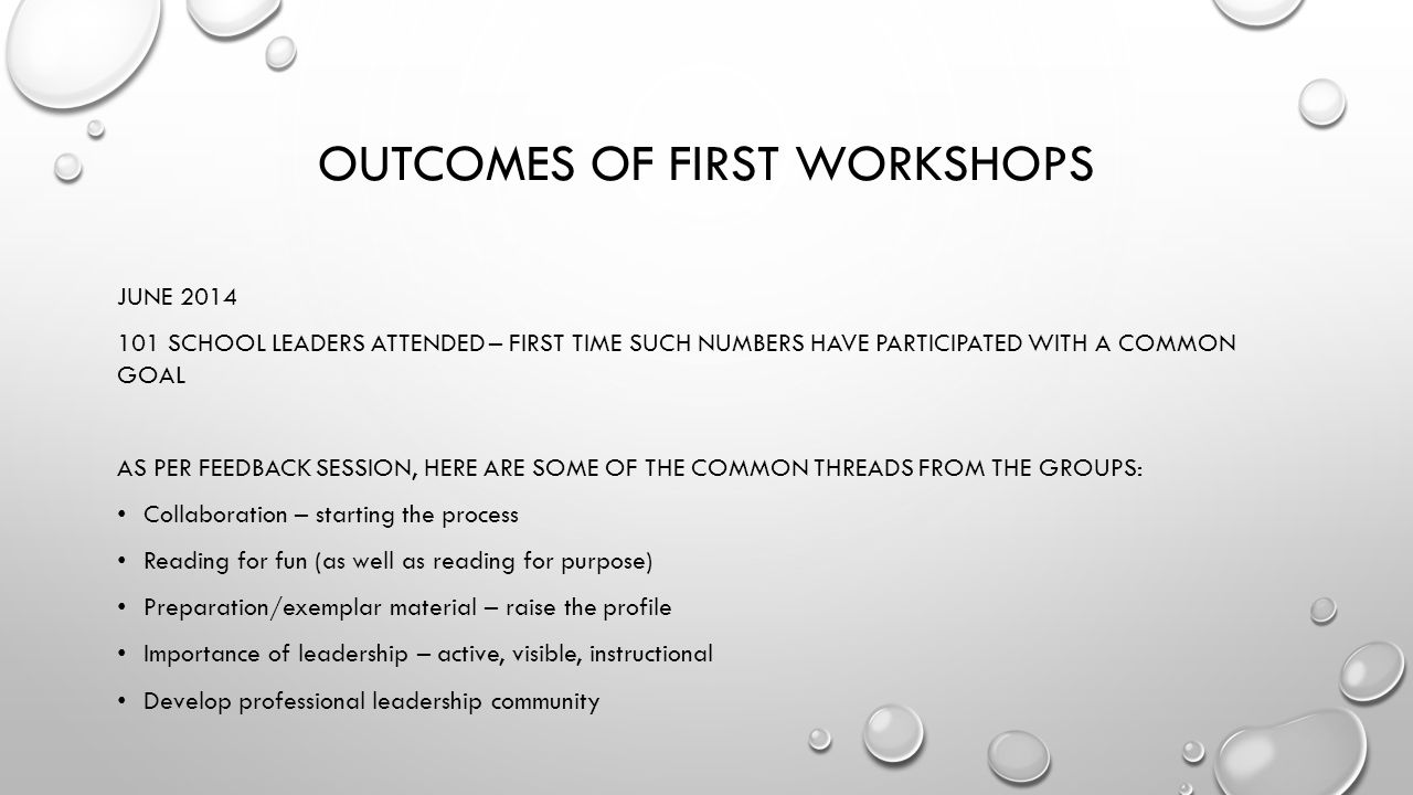 Outcomes of First workshops