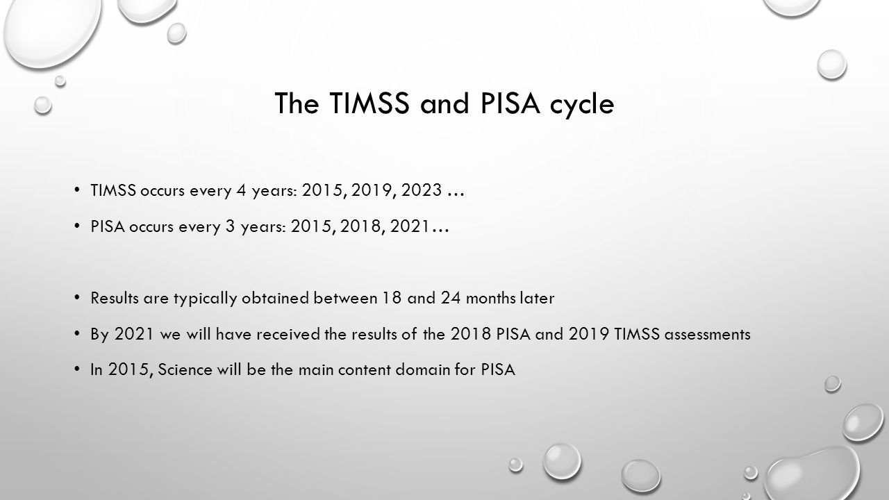 The TIMSS and PISA cycle