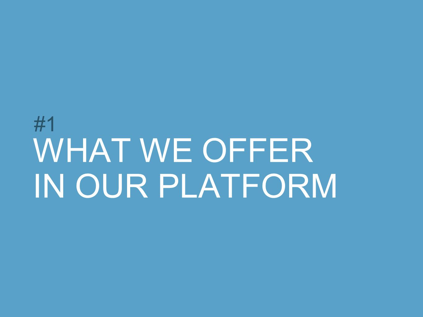 WHAT WE OFFER IN OUR PLATFORM