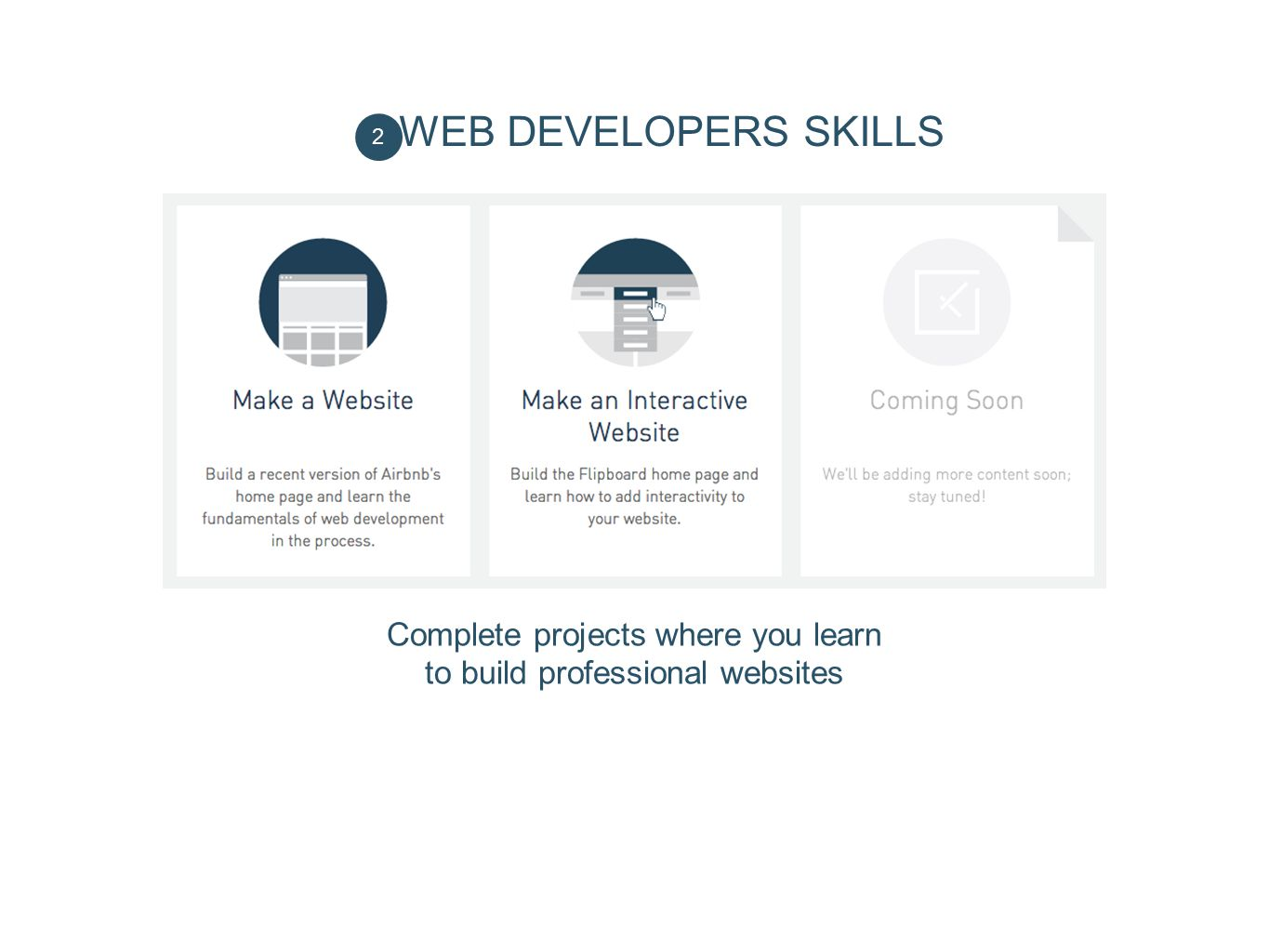 Complete projects where you learn to build professional websites
