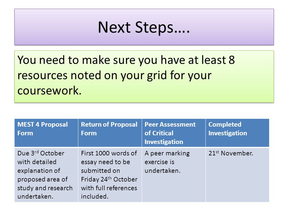 Next Steps…. You need to make sure you have at least 8 resources noted on your grid for your coursework.