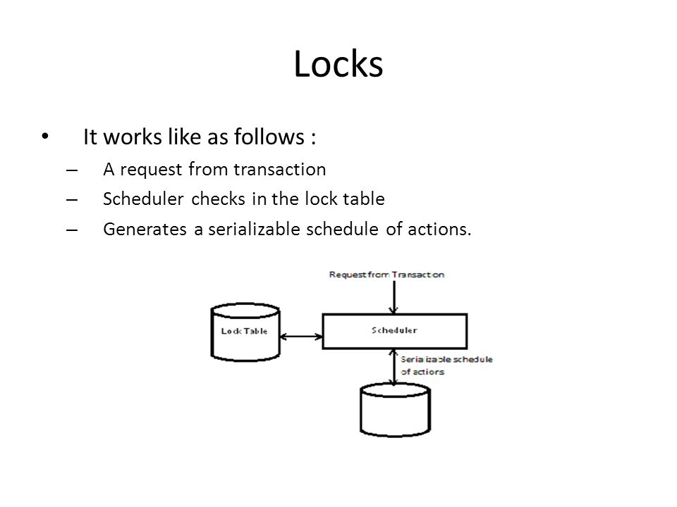 Locks It works like as follows : A request from transaction