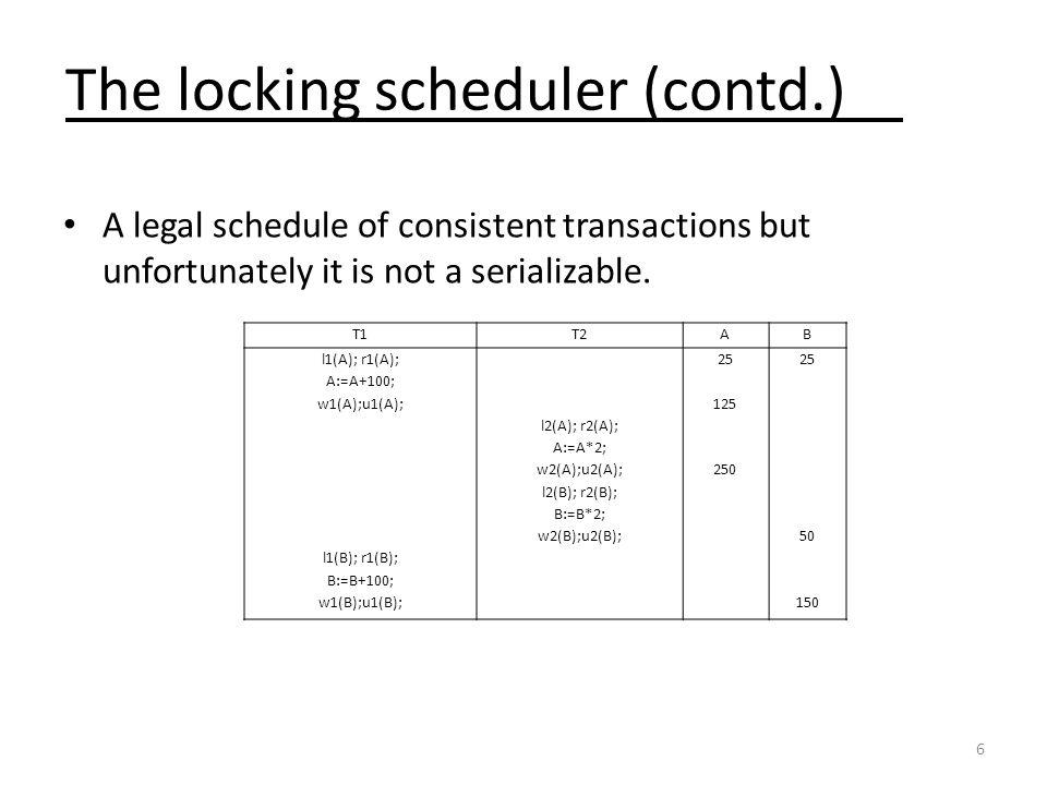 The locking scheduler (contd.)