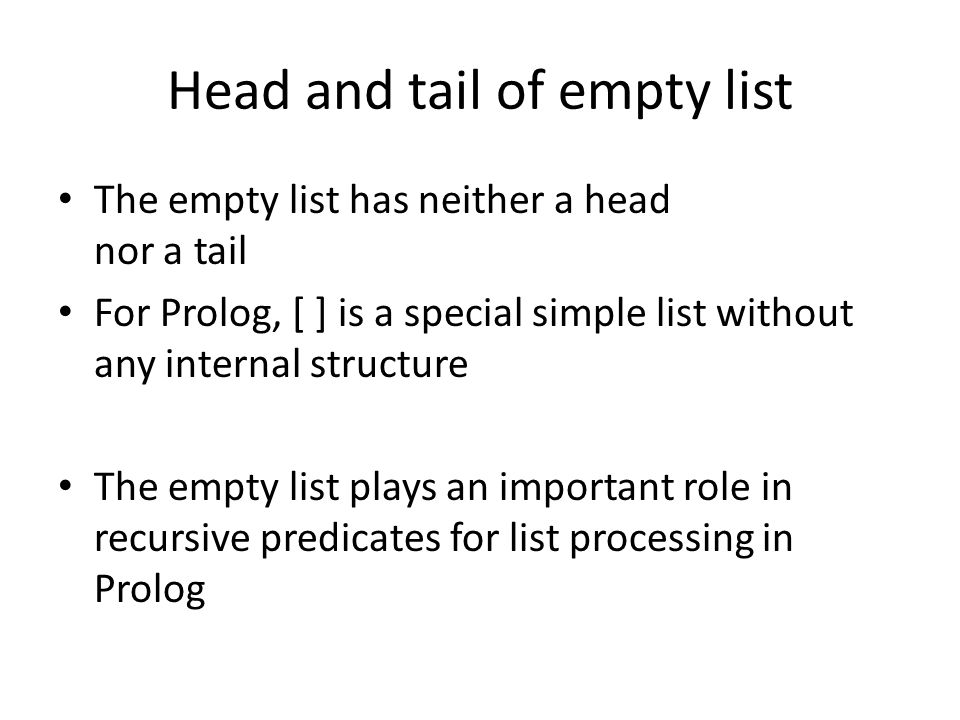 Head and tail of empty list