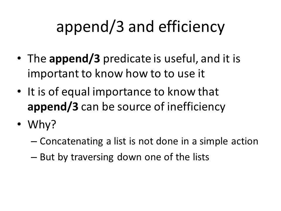 append/3 and efficiency