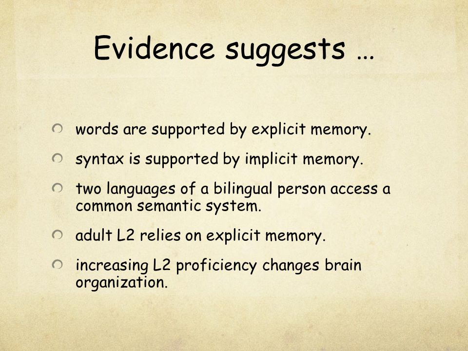 Evidence suggests … words are supported by explicit memory.
