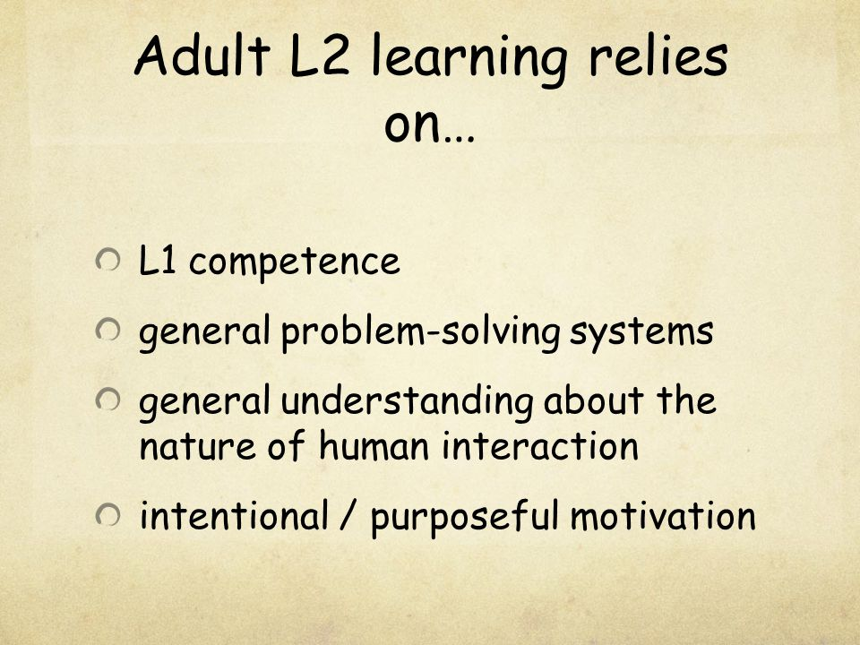 Adult L2 learning relies on…