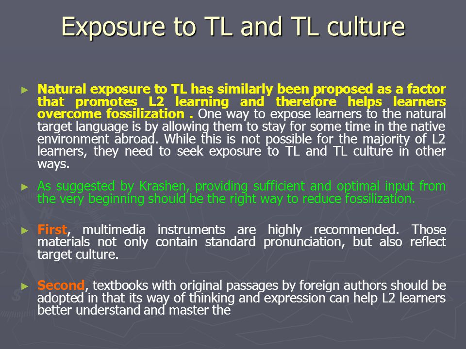 Exposure to TL and TL culture