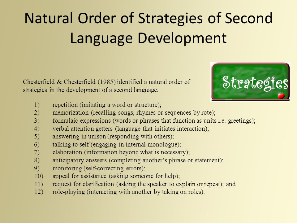 Natural Order of Strategies of Second Language Development