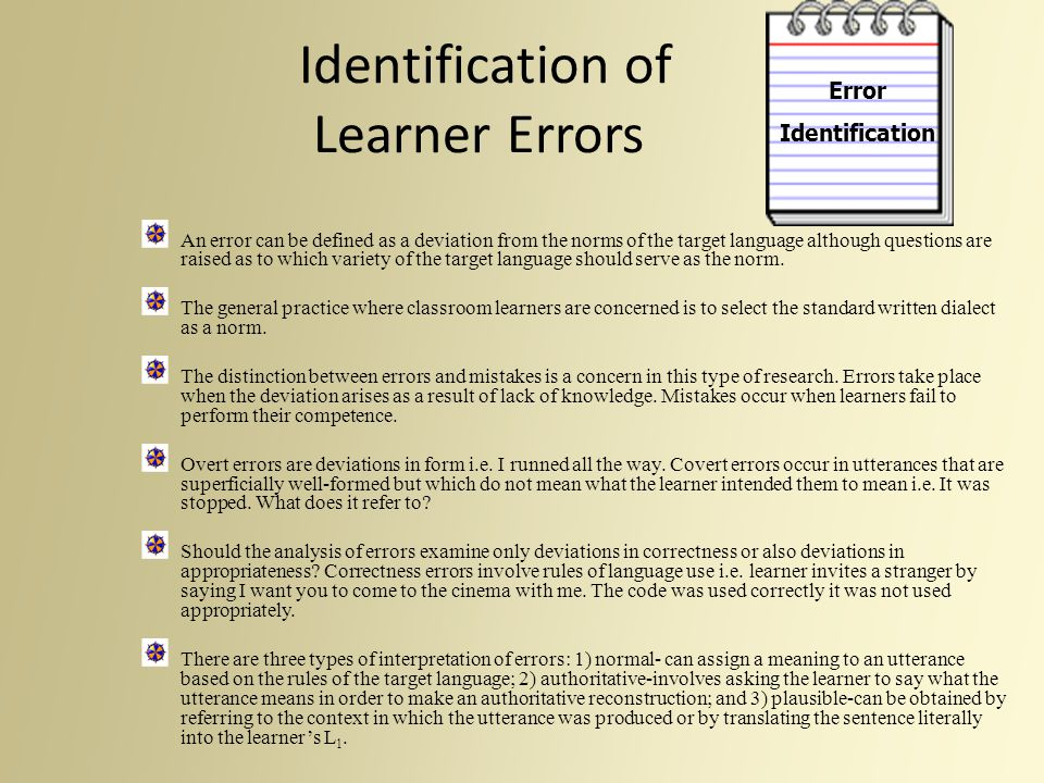 Identification of Learner Errors