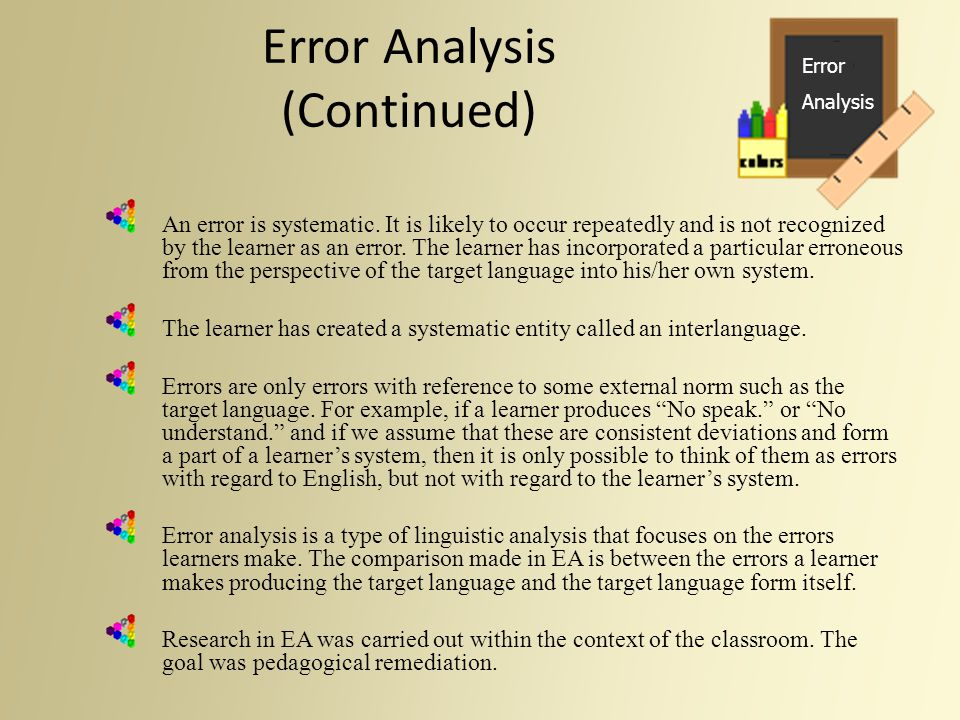 Error Analysis (Continued)