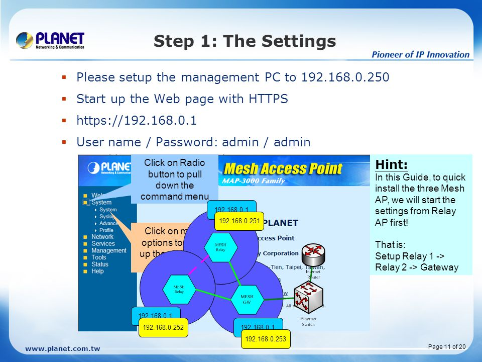 Step 1: The Settings Please setup the management PC to 192.168.0.250