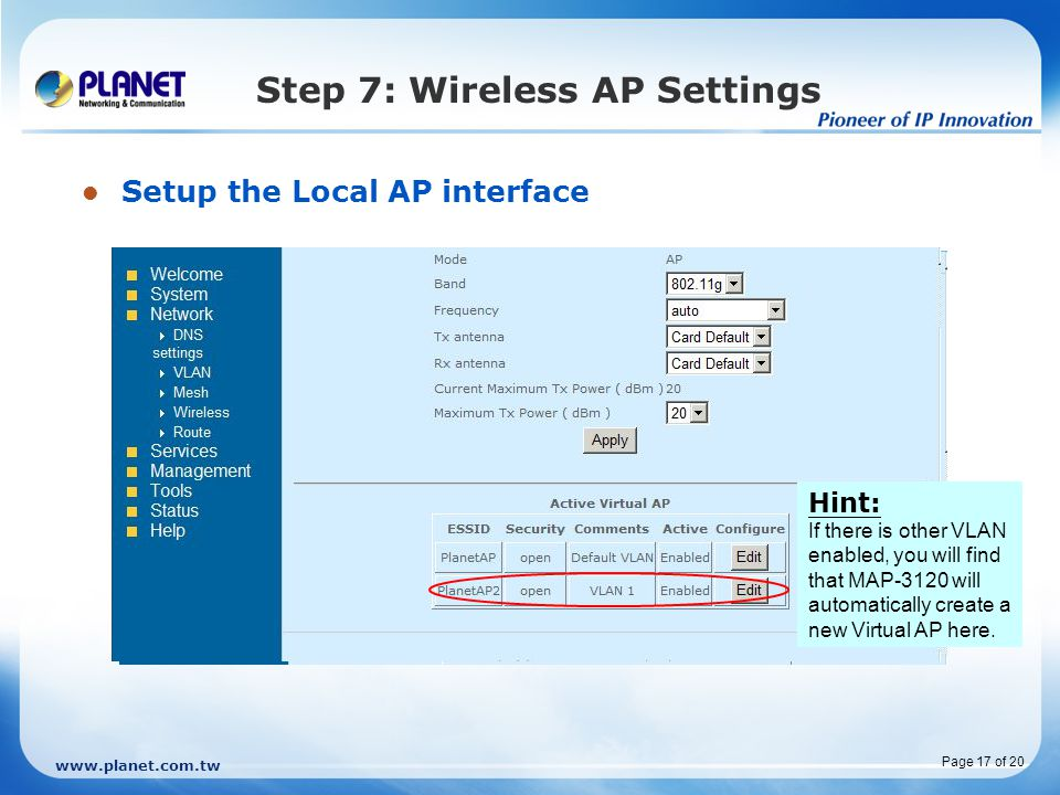 Step 7: Wireless AP Settings