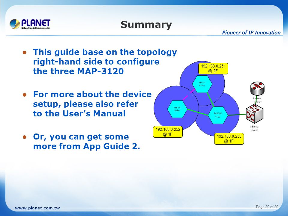 Summary This guide base on the topology right-hand side to configure the three MAP-3120.
