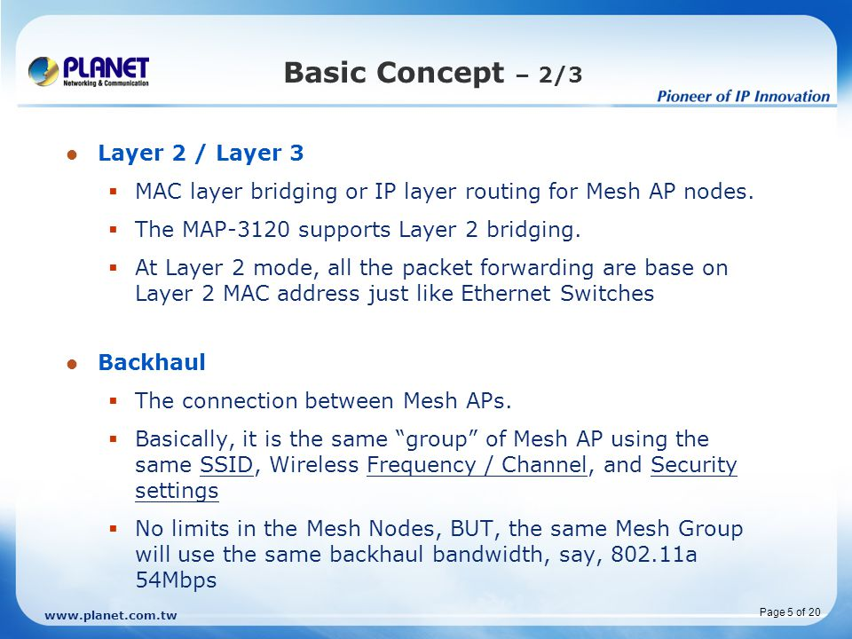 Basic Concept – 2/3 Layer 2 / Layer 3