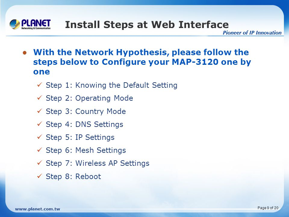 Install Steps at Web Interface