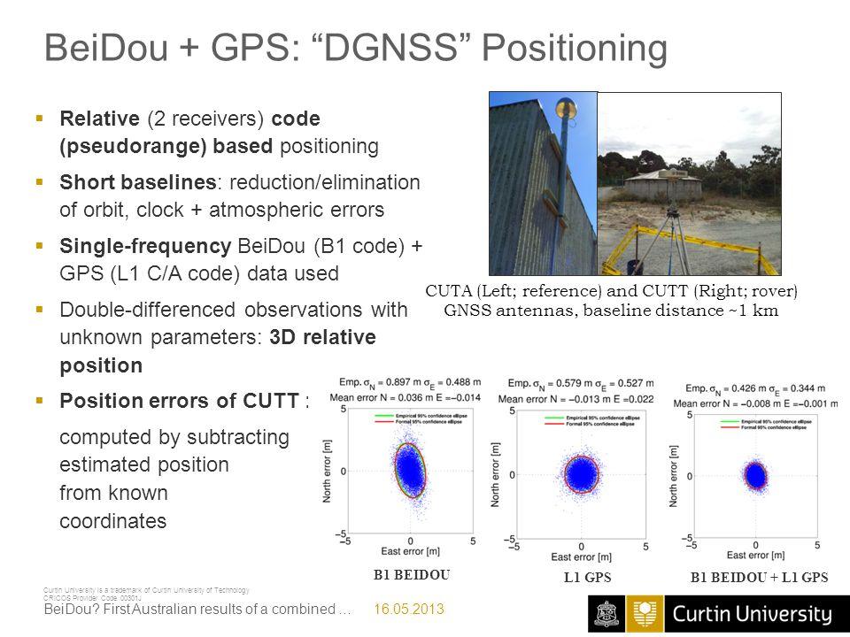BeiDou + GPS: DGNSS Positioning