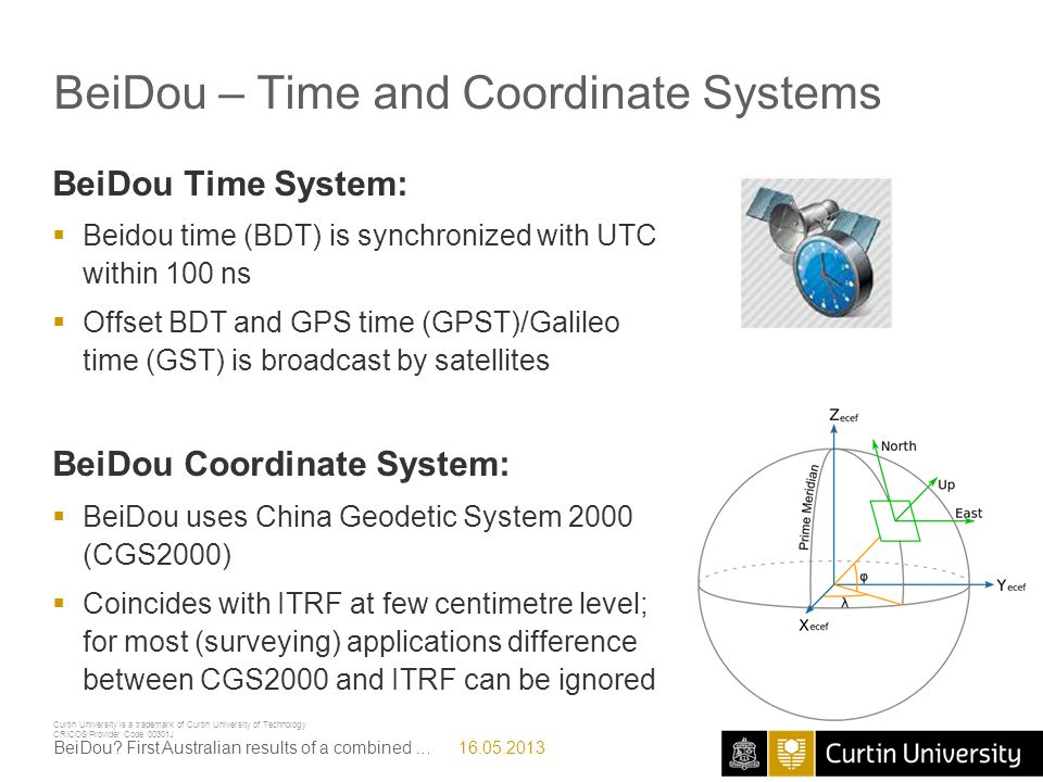 BeiDou – Time and Coordinate Systems