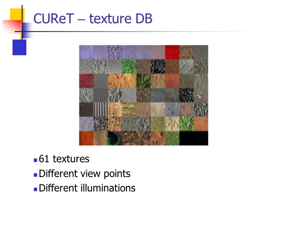 CUReT – texture DB 61 textures Different view points