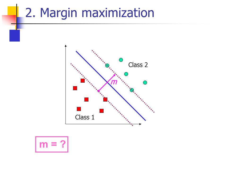 2. Margin maximization Class 2 m Class 1 m =