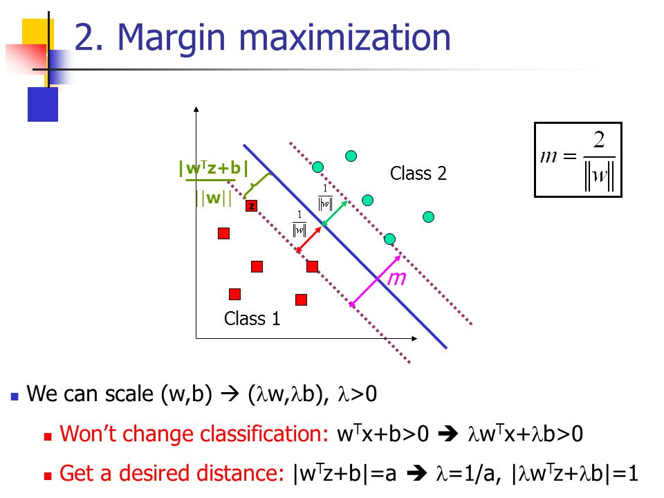 2. Margin maximization m We can scale (w,b)  (w,b), >0