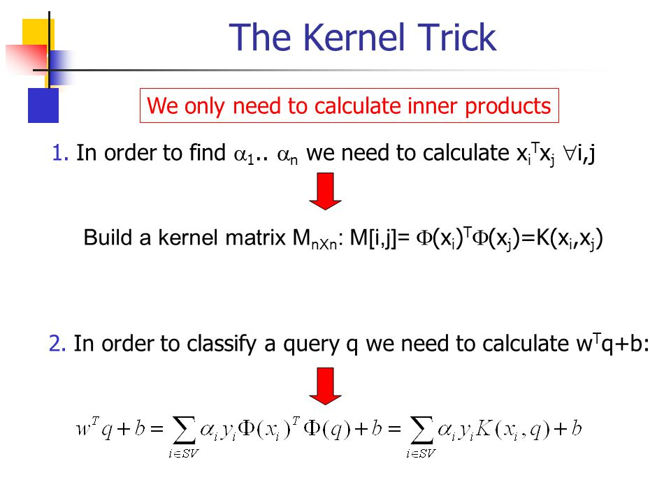 The Kernel Trick We only need to calculate inner products