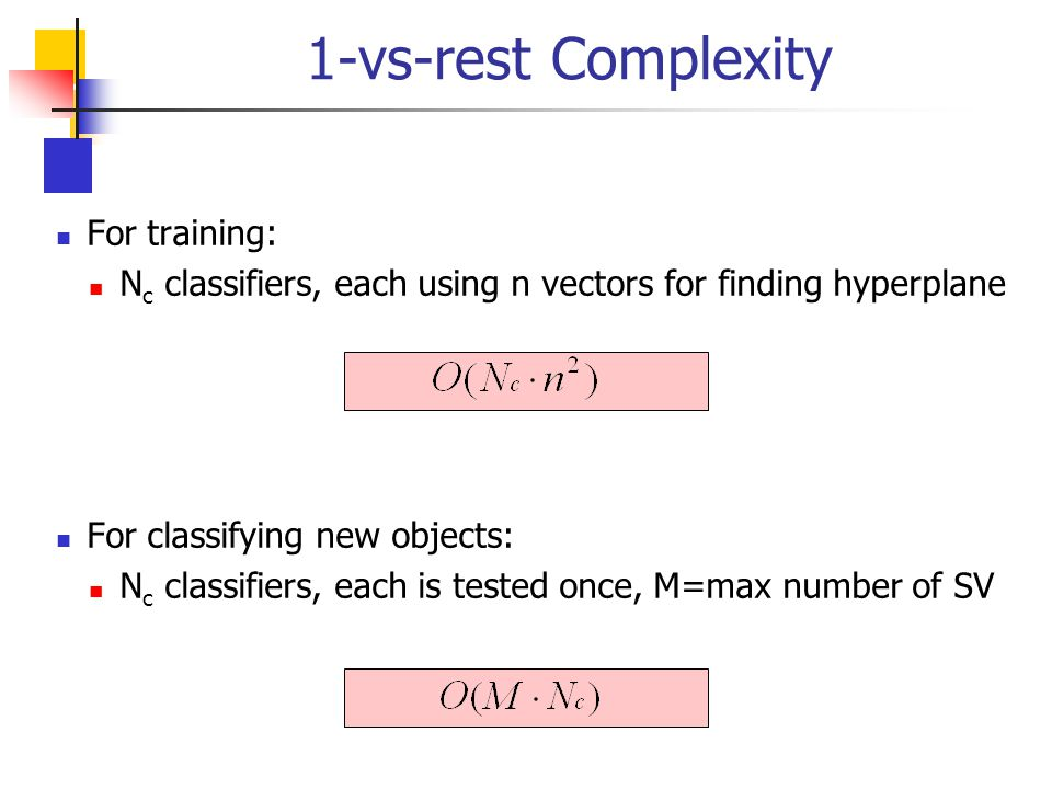 1-vs-rest Complexity For training:
