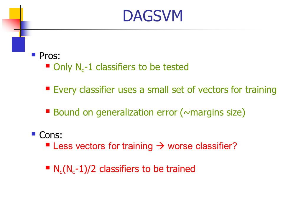 DAGSVM Pros: Only Nc-1 classifiers to be tested