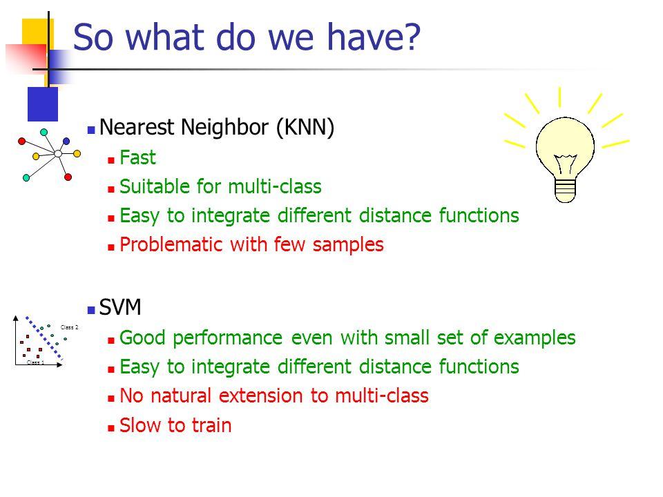 So what do we have Nearest Neighbor (KNN) SVM Fast