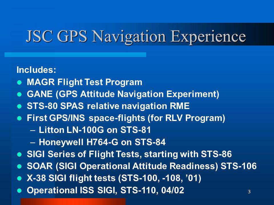 JSC GPS Navigation Experience