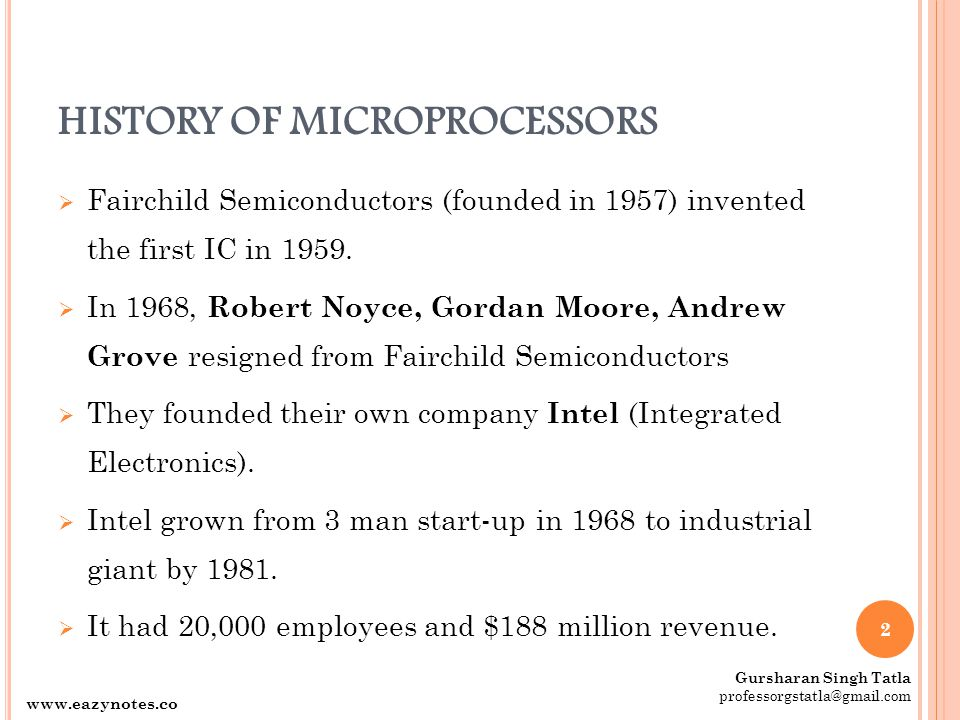 HISTORY OF MICROPROCESSORS