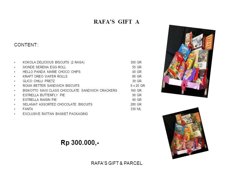 Rp 300.000,- RAFA'S GIFT A CONTENT : RAFA S GIFT & PARCEL