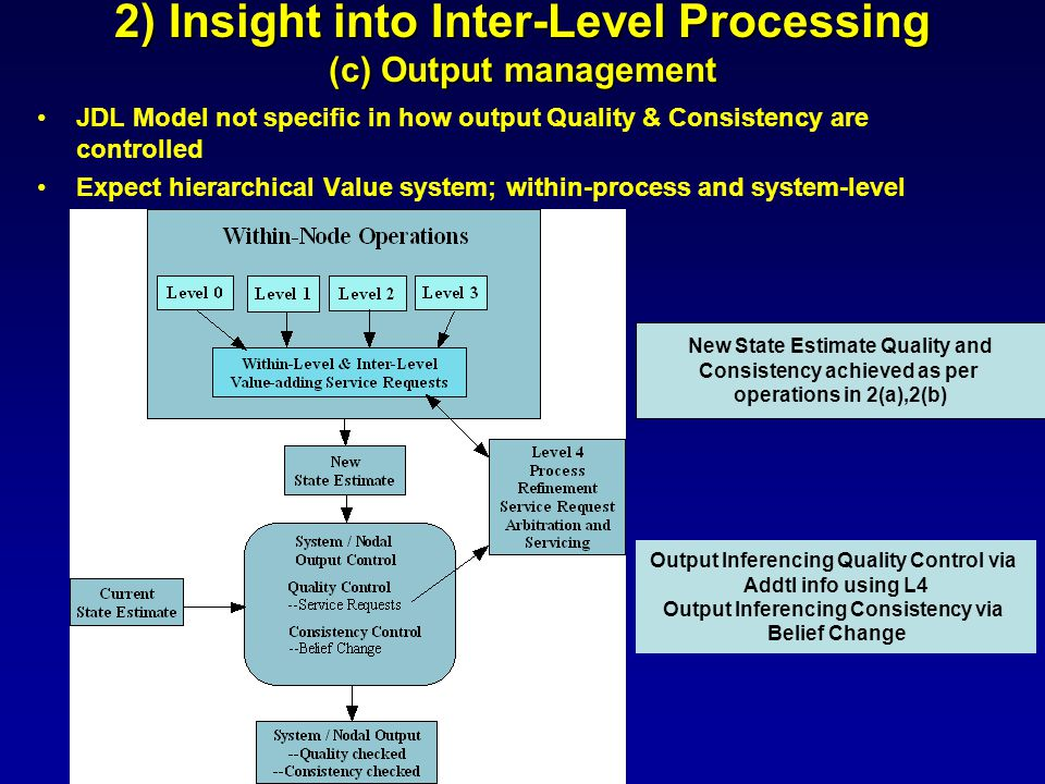 2) Insight into Inter-Level Processing (c) Output management