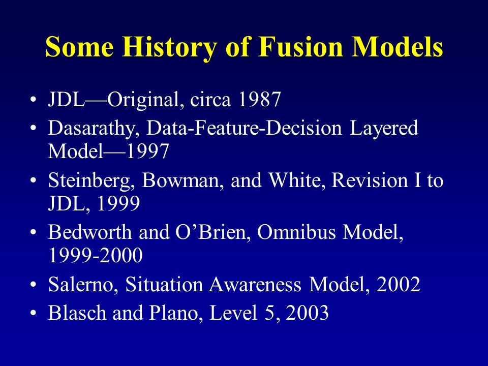 Some History of Fusion Models