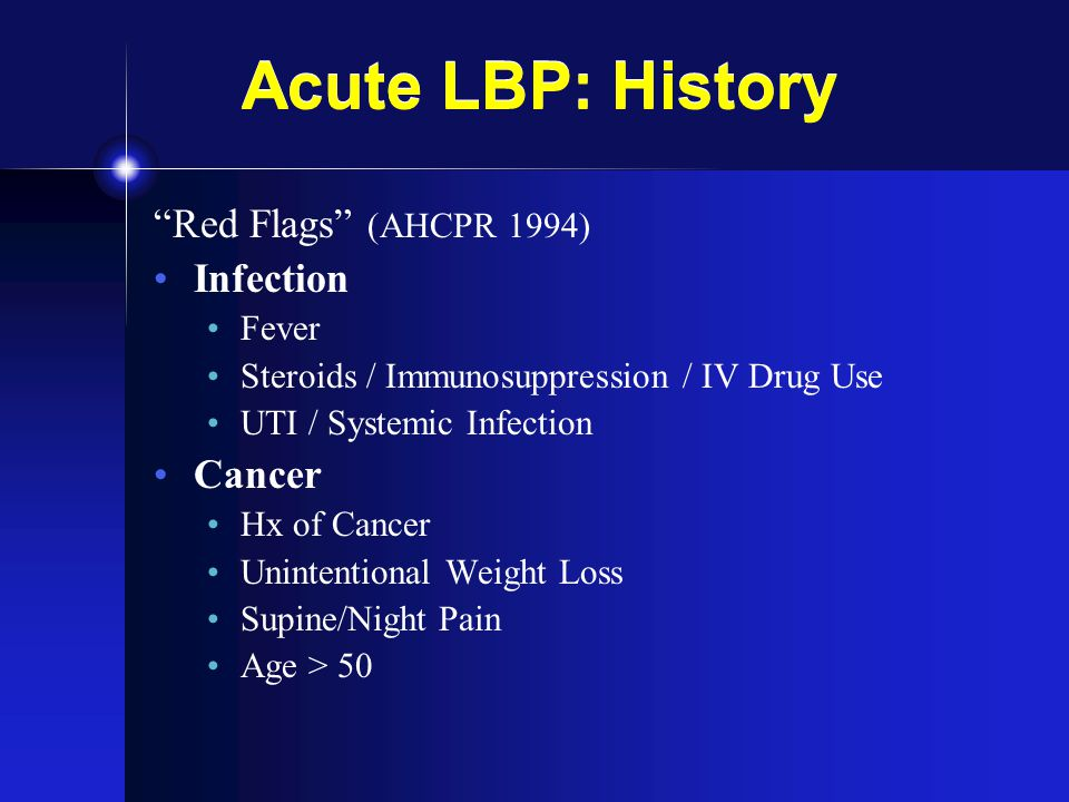 Acute LBP: History Red Flags (AHCPR 1994) Infection Cancer Fever