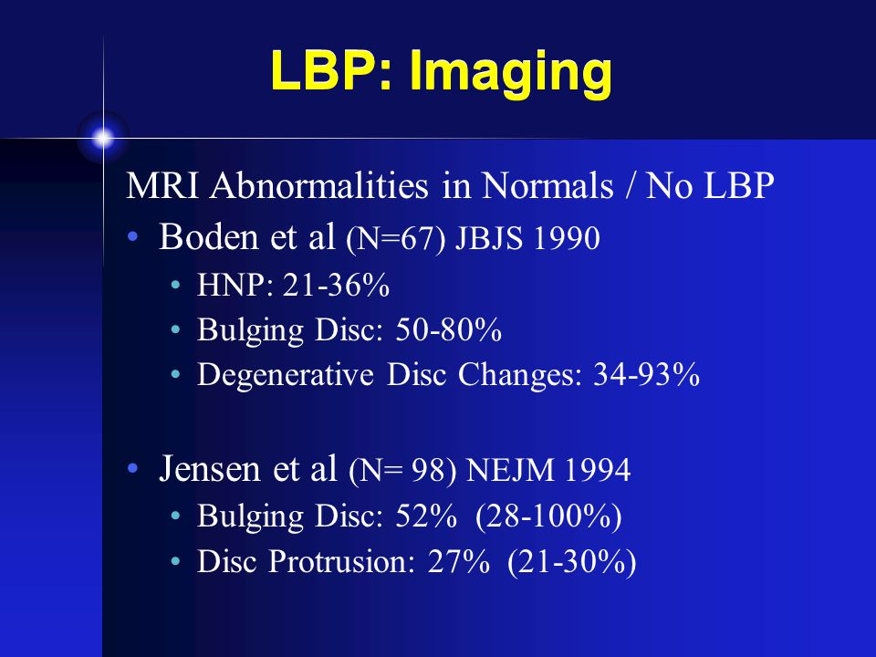 LBP: Imaging MRI Abnormalities in Normals / No LBP