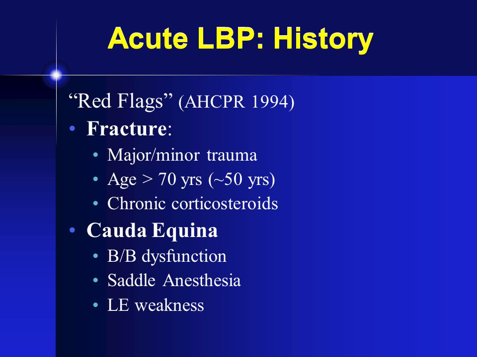 Acute LBP: History Red Flags (AHCPR 1994) Fracture: Cauda Equina