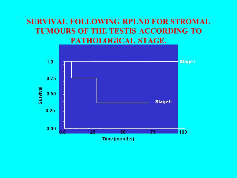. SURVIVAL FOLLOWING RPLND FOR STROMAL TUMOURS OF THE TESTIS ACCORDING TO PATHOLOGICAL STAGE. 0.00.