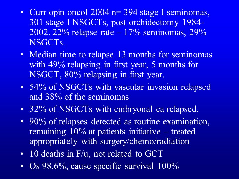 Curr opin oncol 2004 n= 394 stage I seminomas, 301 stage I NSGCTs, post orchidectomy % relapse rate – 17% seminomas, 29% NSGCTs.
