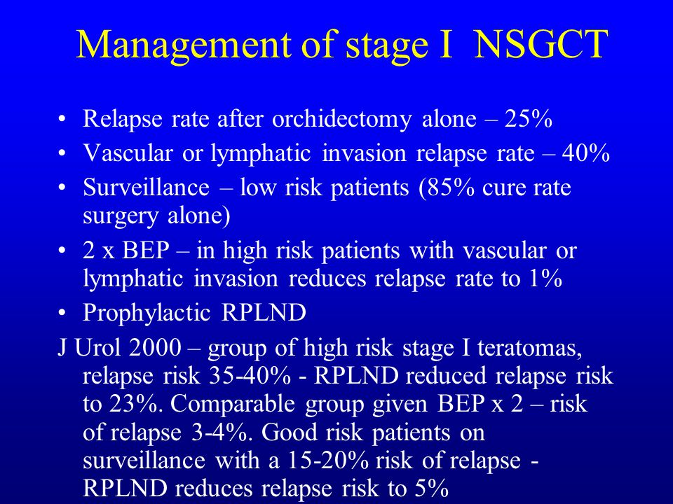 Management of stage I NSGCT