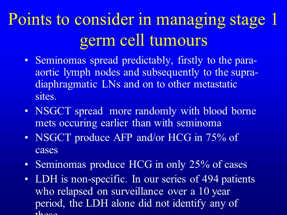 Points to consider in managing stage 1 germ cell tumours