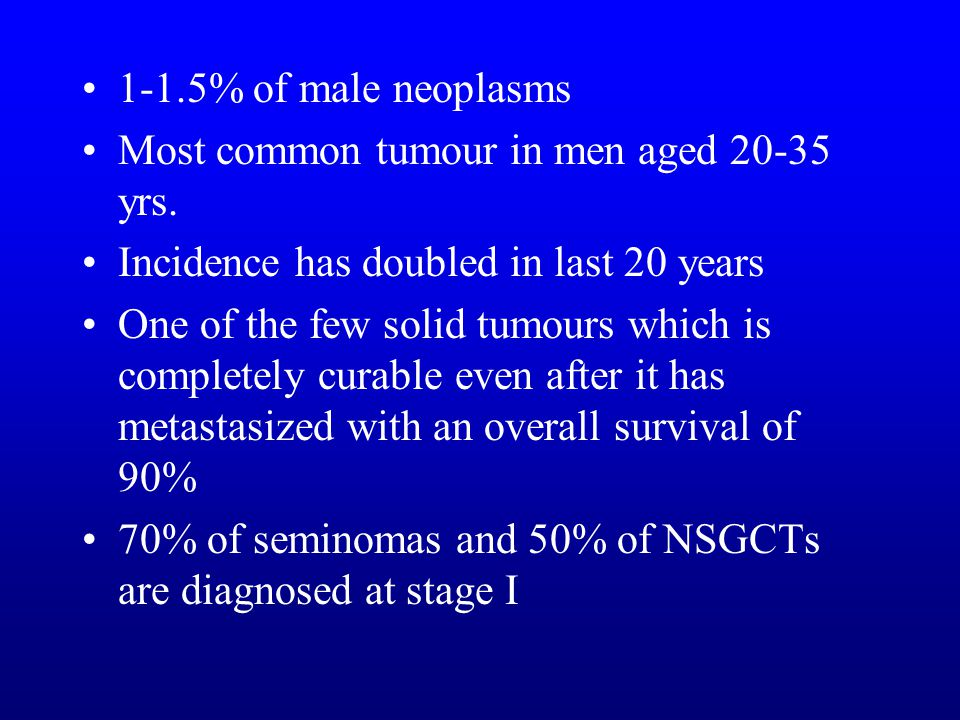 1-1.5% of male neoplasms Most common tumour in men aged yrs. Incidence has doubled in last 20 years.
