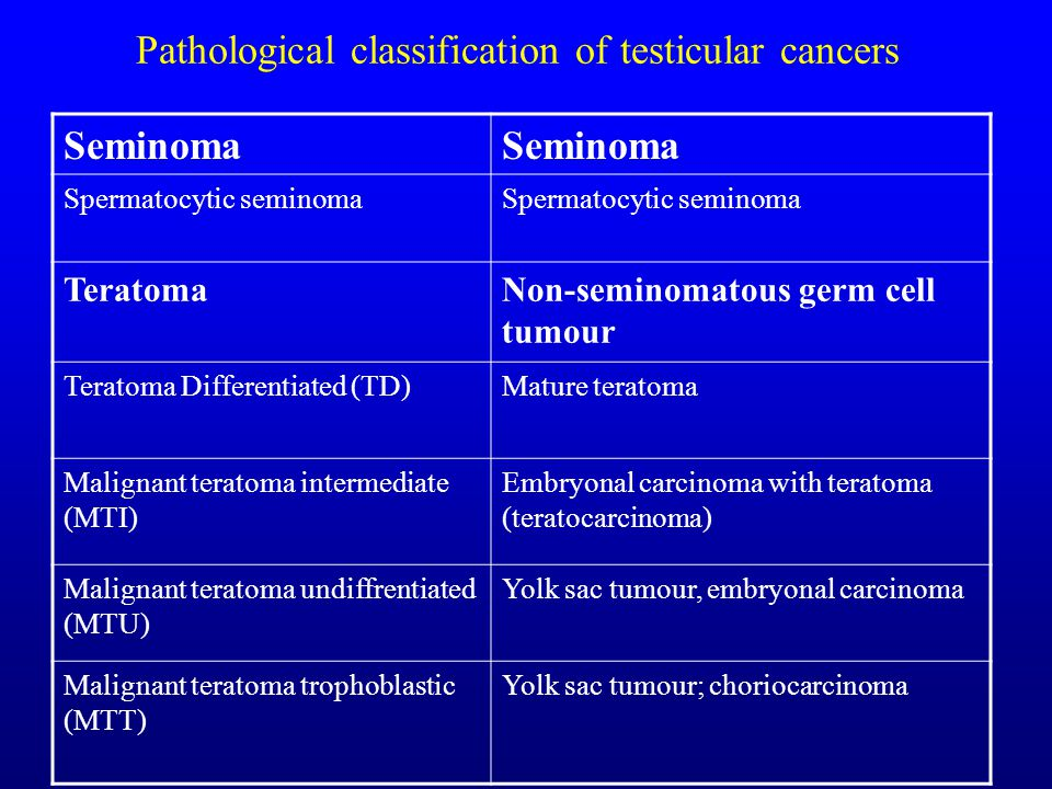 Pathological classification of testicular cancers