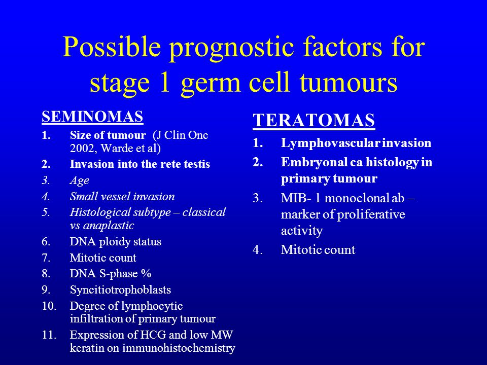Possible prognostic factors for stage 1 germ cell tumours